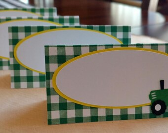 Gingham Tractor Food Tent Cards