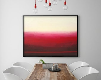 Red Ombre Maroon Ombre Mid Century Minimalist Painting Art Red Wall Decor  Red Art Ombre Modern