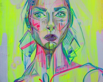 "8x10 ""Lux"" Print, Original Acrylic Painting, Female Portrait, Contemporary Art, Fluorescent Yellow, Neon Pink, Blue"