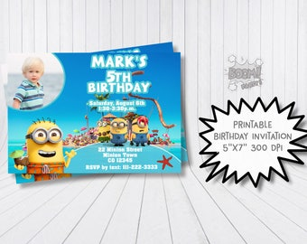 Pool party minion invitation, Printable invitation, Pool party invitation, Summer party, Minion birthday invitation, Minion summer