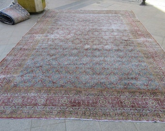 11.3X17.1 Ft Antique distressed oversized one of a kind Persian rug