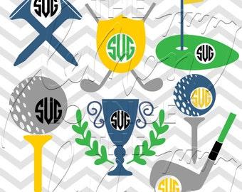 Golf Monogram svg, 7 golf monogram svg files, golf svg, monogram cut file, digital cutting file, sport svg, golf ball svg, commercial OK,