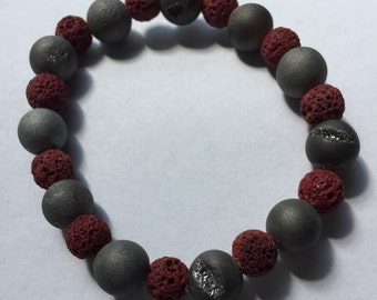 Red Lava and Shaved Silver Beaded Bracelet