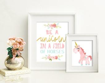 8x10 11x14 DIGITAL Unicorn print set, unicorn watercolor, unicorn wall art, unicorn art, unicorn room decor, unicorn nursery, Pink unicorn