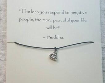 Buddha bracelet, wax cord bracelet, gifts for him, gifts for her, teen gifts, birthday gifts, friendship bracelet, adjustable bracelet