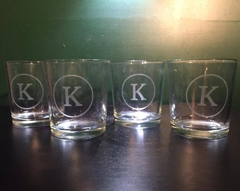 Personalized Etched Low Ball Glasses