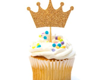 12 Count Glitter Crown Cupcake Topper Baby Shower Cupcake Topper 1st Birthday Cupcake Topper Princess Cupcake Topper Baby Shower Decorations
