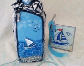 Handmade,Decorative bottle,blue sea,home decor mediterranean,house warming,gift,bottle decor,centerpiece,house decor,kitchen & dining decor