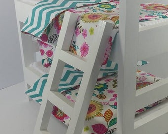 "18"" Doll Bunk Bed Set, Floral and Teal Doll Bedding, Made to Fit 18"" Dolls Such as The American Girl Dolls"