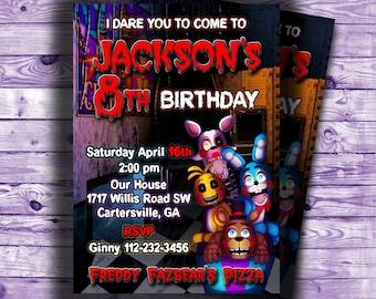 Five Nights at Freddy's Invitation-5 nights at Freddy's Party Printables-Five Nights at Freddy's Birthday Invitation-FNAF invitation-Digital