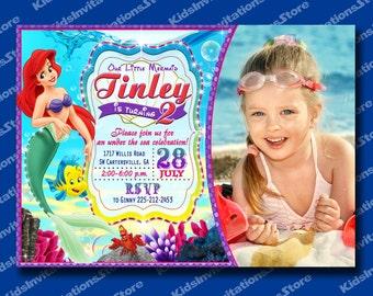 Little Mermaid Invitation-Ariel The Little Mermaid Invitations-Custom Mermaid Invitation-Disney party invitation-Digital file-Printable