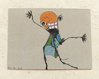 Drawing, winkendes KlexMonster, DinA 6