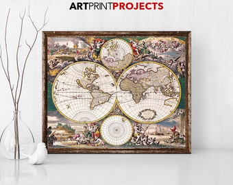 Large world map Vintage Style map Map poster World map vintage Travel map World map Home decor Large world map World map artArtPrintProjects
