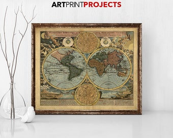 World Map Poster, Rustic Vintage Style, travel map, large world map, watercolor map, map painting, home decor, quest book ArtPrintProjects