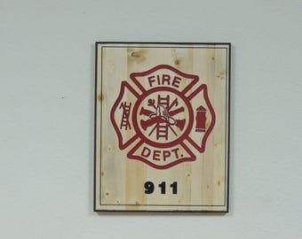 Fire Dept (Carved sign)