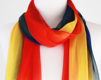 Soft Elegant Long Wrap Scarves / Gradient / Apricot Yellow / Blue / Red / Spring Summer Scarf / Women Scarves / Accessories / Handmade