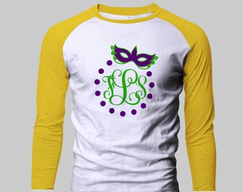 Mardi Gras Monogram Raglan Shirt with 3/4 length sleeves