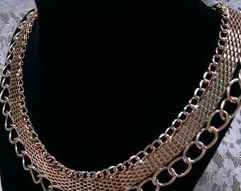 Wide vintage Gold tone chain choker collar necklace