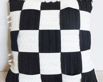 Black white checkered pillow Made in Italy