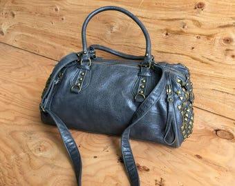 Vegan Leather Mini Duffel Bag // Vegan Barrel Bag // Leather Cylinder Bag