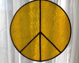 """Stained Glass Peace Sign  8"""" Yellow"""