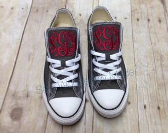Adult Monogrammed Converse -  19 Colors Available - Womens & Men - Monogrammed Low Top Converse - Wedding Day Converse - Monogrammed Shoes