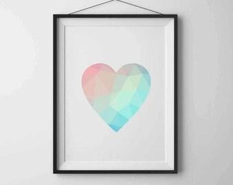 Geometric heart Geometric Print Art Heart print Printable wall art Heart art Love print Modern art Home decor Minimalist art