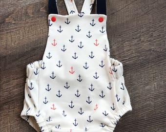 Organic baby boy summer romper/children clothing/organic baby boy clothing/baby shower gift