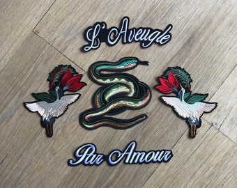 Embriodered Snake Flying Birds w Flowers L' Aveugle Par Amour Patch -  Iron on patch - Free Shipping