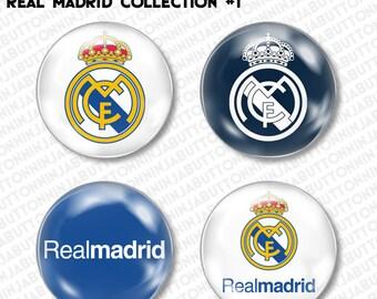 Set of 4 Mini Pins / Buttons - REAL MADRID FUTBOL spain soccer lfp primera division la liga