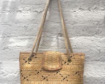 Vintage Woven Bag with Rope Straps