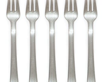 24 PC Glitter Silver Plastic Appetizer Forks/ Glitter Silver Silverware/ Silver Mini Forks/ Silver Party Supplies