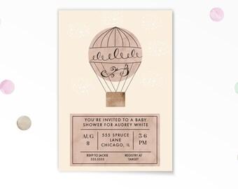 Baby Shower Invitation, Hot Air Balloon Baby Shower Invitation, Printable, Clouds, Baby Shower, Baby Girl, Hot Air Balloon, Illustration,
