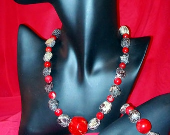 Bamboo coral necklace and bracelet, rough stone and Silver 925