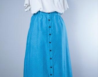 Polka dot Skirt•Vintage long silk Skirt•Maxi skirt•long skirt•Blue Lightweight Skirt•Button Up Retro skirt•Vintage skirt•natural fabric