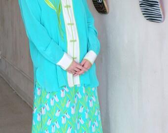 Bob MACKIE Suit Women 3-Piece Asian Outfit Skirt Blouse Jacket SUIT Size L/XL/1X