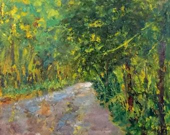 """Original Oil Painting Framed Landscape """"Tree-Lined"""""""