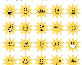 Sunny Faces Clip Art, Sun Clip Art, Preschool Art, Sunny Smiles, Kids Clip Art, Teacher Clip Art, School Sun, Weather Clip Art, Smiley Art