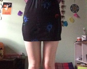 Black Floral Mini Skirt