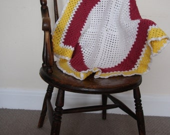 Hand Crocheted square baby blanket.