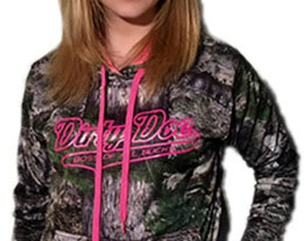 Dirty Doe Mossy Oak Camo with Pink Logo Hoodie For The Chilly Night By The Lake