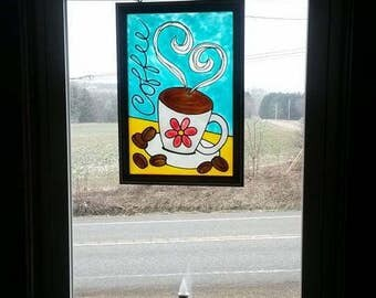 Coffee | Window Art | faux stained glass | painted glass | sun catcher