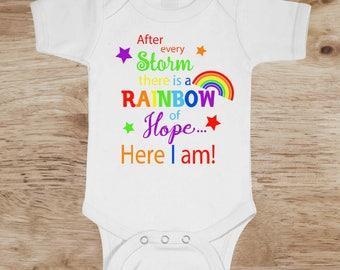 Rainbow Baby Onesie, Rainbow Baby Announcement, rainbow baby bodysuit, rainbow baby shirt, rainbow baby,  after storm rainbow, baby rainbow