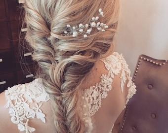 Floral Pearl Wedding Hair Pin, Bridal Hair Accessories, Bridal Pin, Floral Hair Piece, Pearl and Floral Hair Pin, Free Shipping!