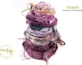 Twinklebell Fiber Art Yarn. 16 Yard Novelty Yarn, Ribbon and Art Fiber Bundle.