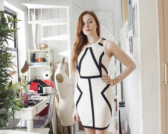 Black and White Geometric Mod Dress Size 8