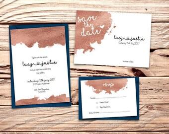Rose Gold Foil Printable Wedding Invitation Set