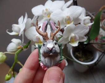 MADE TO ORDER - custom Jackalope Pendant