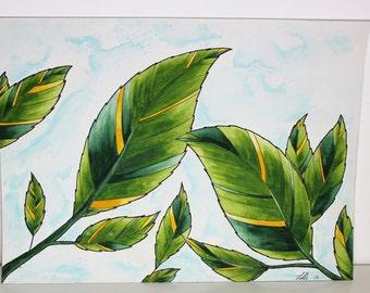 Leaves Watercolor ORIGINAL 9x12 Painting