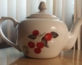 Vintage Colorful BIA Cordon Bleu Ceramic Tea Pot White With Fruit Cherries Apples Lemon Plum Images 1990 KK998